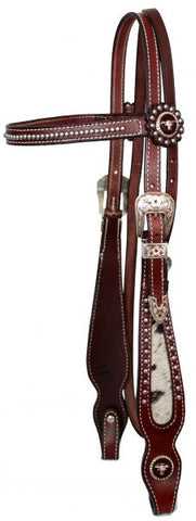 Showman™ leather browband beaded headstall and reins with hair on cowhide cheeks in Burgundy