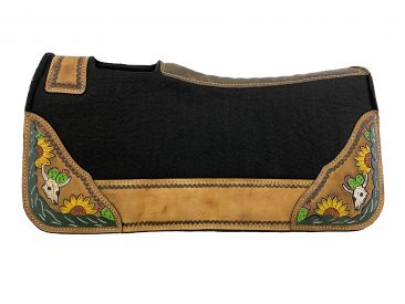 "#4924: Showman® Pony  24""  x  24""  Black  felt  1""  saddle pad with  distressed brown leather  feat"