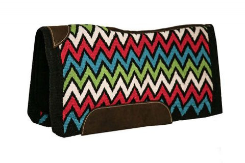 "#4975: Showman ® 34"" x 36"" x 3/4"" memory felt saddle pad with woven wool Chevron design top"