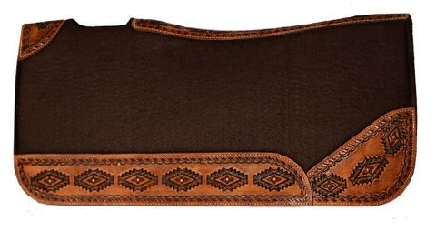 "#4978: Showman ® 32"" X 31"" Contoured felt bottom saddle pad with aztec designed wear leathers"