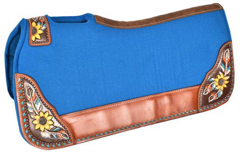 "#4987: Showman ® 31"" x 32"" x 1"" Turquoise felt saddle pad with hand painted sunflower and feather d"