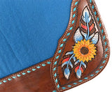 "#4990X: Showman ® 31"" x 32"" x 1"" Turquoise felt saddle pad with hand painted sunflower, feather, an"