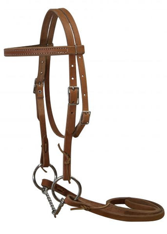 Light Double stitched pony bridle complete with twisted wire snaffle bit and reins
