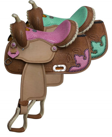 Pink Double T Barrel style saddle with alligator print seat and accents