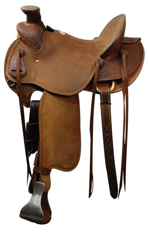 "15"" Showman™ saddle with braided basket weave tooling"