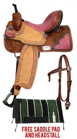 15 / PINK Double T Barrel Style Saddle package set with Pink Alligator Print Seat
