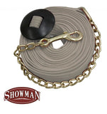 Cream Showman ® 25' flat cotton web lunge line with brass chain