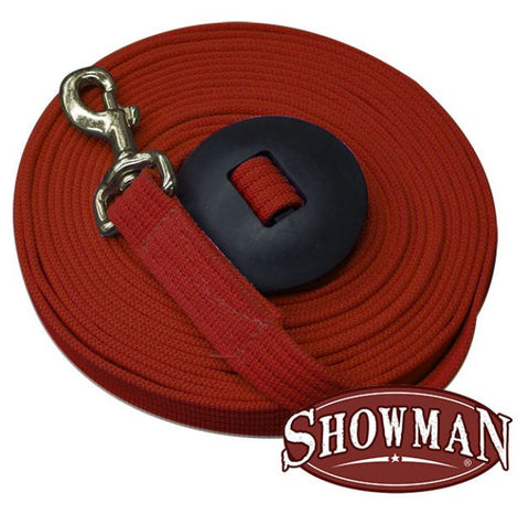 White Showman ® 25' flat cotton web lunge line with brass snap