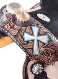 "#530113: 13"" Double T  Barrel style saddle with hand painted cross design"