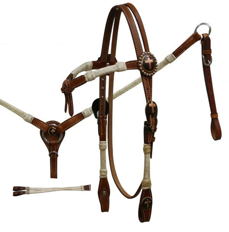 #531: Showman® Double Stitched Leather Rawhide Braided Furturity Knot Headstall and Breast Collar S