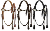 #5331M: Made with top quality leather, Mini size, fully rounded browband headstall and rein set with solid ferrules