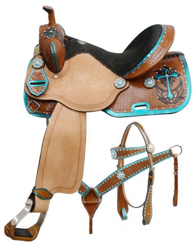 "#551: 14"", 15"", 16"" Double T  barrel style saddle set with metallic teal painted cross This saddle features basket weave tooled skirts, pommel and ca"