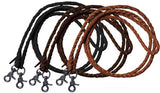 Light One piece leather braided roping reins with scissor snap ends