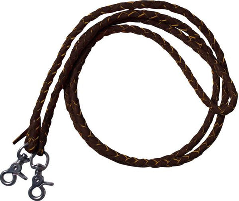 Dark One piece leather braided roping reins with scissor snap ends