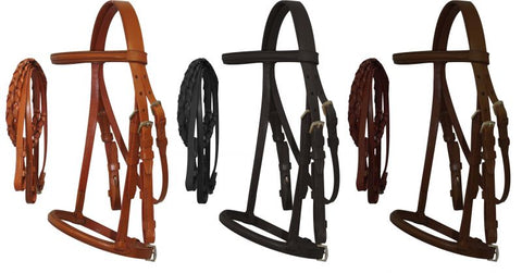 Light Mini Size English headstall with raised browband and braided leather reins