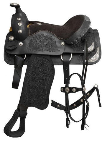 "15"" Black Pleasure style saddl made by Buffalo Saddlery"