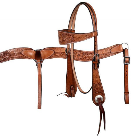 #609: Showman™ double stitched leather wide browband headstall and breast collar set