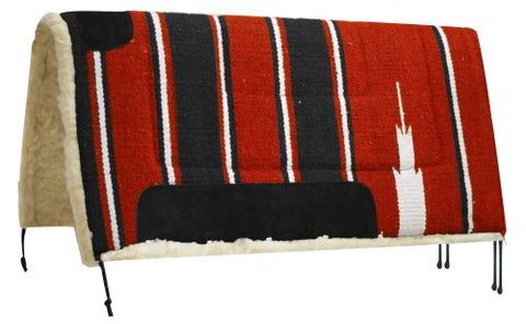 "Red Showman™ 32"" x 32"" oversized Navajo saddle pad with Kodel fleece bottom and suede wear leathers"