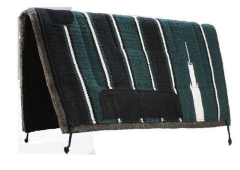 "Green Showman 30"" x 30"" Navajo saddle pad with felt bottom and suede wear leathers"