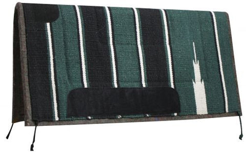 "Green Showman™ 32"" x 32"" Navajo saddle pad with felt bottom and oversized suede wear leathers."