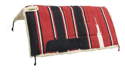 "Red Showman™ 30"" x 30"" Navajo built up cut back pad with Kodel fleece bottom and suede wear leathers"