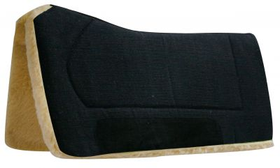 "Black Showman™ 32"" x 32"" contoured pad with Kodel fleece bottom and suede wear leather"