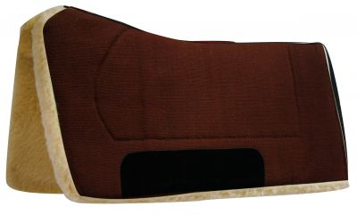 "Brown Showman™ 32"" x 32"" contoured pad with Kodel fleece bottom and suede wear leather"