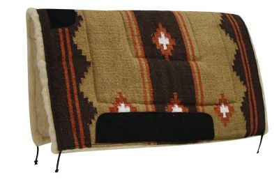 "Brown Showman™ 32"" x 32"" deluxe southwest pad with Kodel fleece and suede wear leathers"