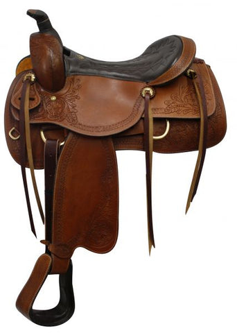 "#614916: 16"" Double T Pleasure Style Saddle with Floral Tooled Accents"