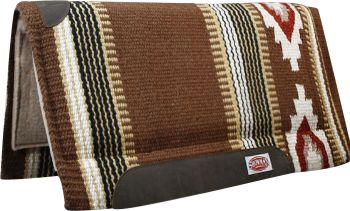 "Brown/Cream Showman™ 36"" x 34"" 100% New Zealand wool cutter style pad"