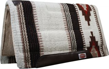 "Cream/Brown Showman™ 36"" x 34"" 100% New Zealand wool cutter style pad"