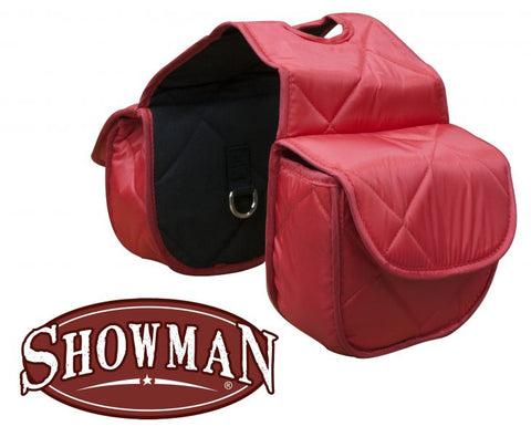 Red Insulated quilted nylon horn bag with velcro closure.