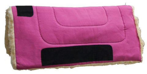 "Hot Pink Showman™ 32"" x 32"" Heavy Canvas ""Work"" top pad features Kodel fleece bottom with suede leather wear leathers"