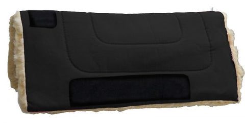 "Black Showman™ 24"" x 24"" Heavy Canvas Pony ""work"" top pad features Kodel fleece bottom with suede leather wear leathers"