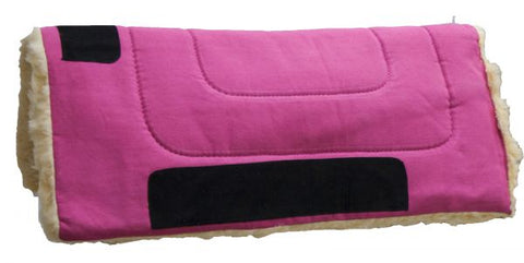"Hot Pink Showman™ 24"" x 24"" Heavy Canvas Pony ""work"" top pad features Kodel fleece bottom with suede leather wear leathers"