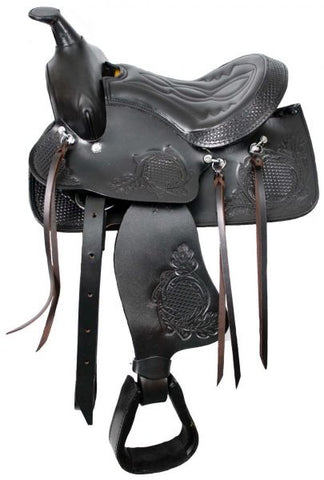 "10"" Black Pony saddle with top grain leather seat"