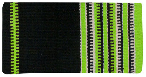 "Lime x 64"" Wool saddle blanket with colored zipper design"