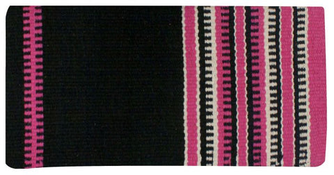 "Pink x 64"" Wool saddle blanket with colored zipper design"