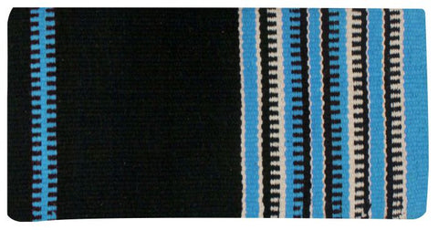 "Turquoise x 64"" Wool saddle blanket with colored zipper design"