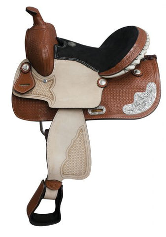 "#628813: 13"" Double T basket weave tooled youth saddle with roughout fender and jockey.  Features a4.5"" rawhide silver laced cantle, silver corner pl"