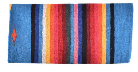 "#6301: 32"" x 64"" Arcylic top saddle blanket with Turquoise Serape design"