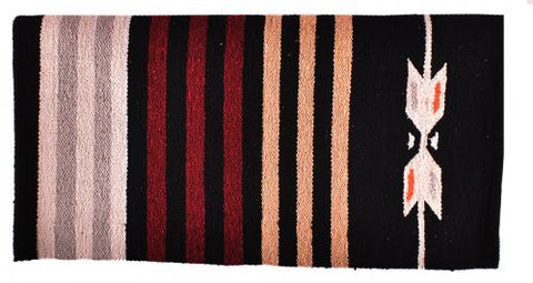 "#6302: 32"" x 64"" Arcylic top saddle blanket with Black and Burgundy Navajo design"