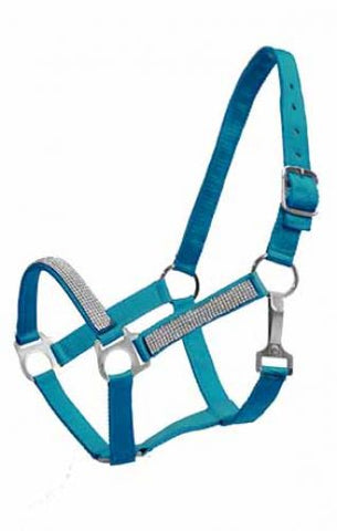 #630: 2Ply Medium/Large Pony size nylon halter with crystal noseband and cheeks
