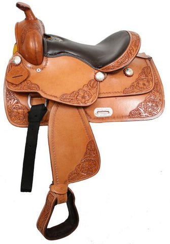 Tan Double T youth saddle with top grain smooth leather seat