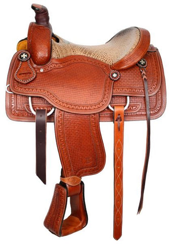 "#6402: 15"" or 16""  Circle S Roper with alligator print seat"