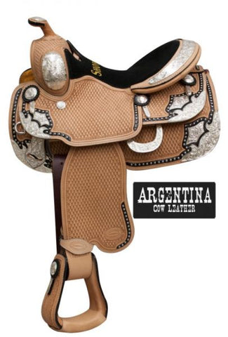Fully basketweave tooled Showman ® show saddle made of premium Argentina cow leather with a suede leather equitation style seat
