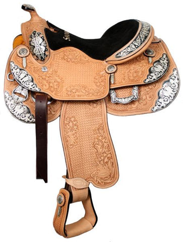 "#6433: 16"" or 17"" Showman™ show saddle with a combination of large basketweave and oak leaf tooling made of premium Argentina cow leather with a sued"