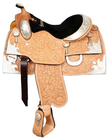 "16"" Saddle Only Oak leaf and acorn fully tooled Showman™ show saddle made of premium Argentina cow leather with a suede leather equitation style seat"
