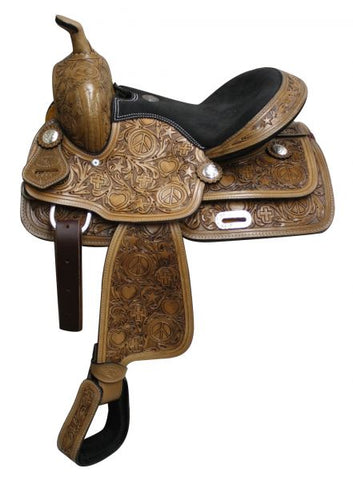 Fully tooled Double T youth saddle with suede leather seat