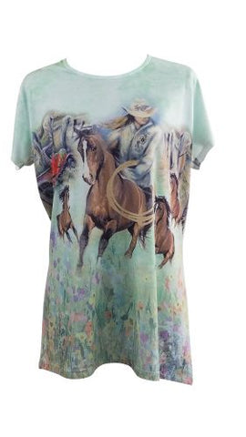 """Roping Cowgirl"" Round Neck T-Shirt"